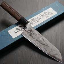 damascus steel kitchen knives shinji fujishita blue steel 2 damascus steel santoku kitchen