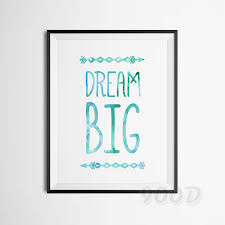 watercolor dream big quote canvas art print painting poster