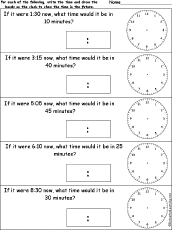 telling time clock arithmetic worksheets enchantedlearning com