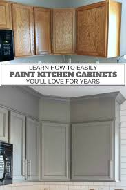 upgrade cabinet makeover with diy crown moulding and chalky finish