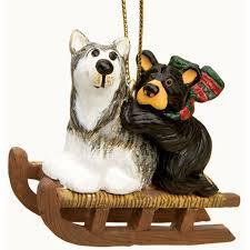 bearfoots bears bear u0026 dog sled christmas ornament ebay