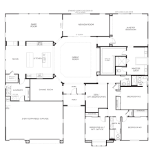 Floor Plan Of Graceland One Story Home Plans 2555 Single Story 5 Bedroom House Floor Plans