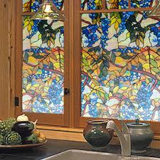 2015 new stained glass film grape floral plant vine stained window