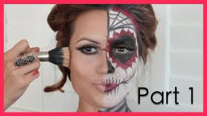 half face halloween makeup ideas dia de los muertos halloween make up tutorial part1 youtube