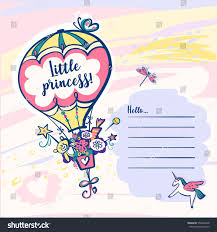 little princess template invitation baby shower stock vector