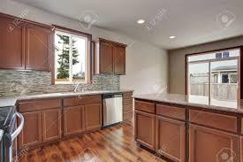 modern kitchen with brown cabinets modern kitchen room interior in empty house also brown