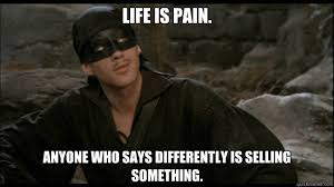 Princess Bride Meme - life is pain anyone who says differently is selling something
