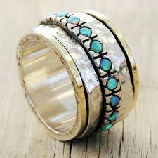 blue opal opal ring spin ring gold and sterling silver ring with blue opal