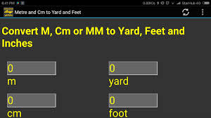 m cm mm to yard feet inch converter tool android apps on