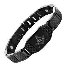 black link bracelet images Masonic bracelet all black stainless steel w black carbon fiber jpg