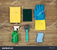 overhead view house cleaning materials placed stock photo