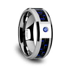 black and blue wedding rings blue tungsten rings for men