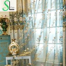 Peacock Blue Sheer Curtains Soul European Style High Grade Water Soluble Curtain Bottom