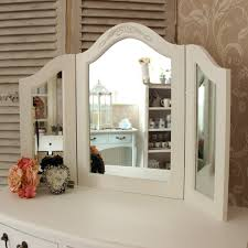 dressing table triple mirror painted white distressed shabby chic