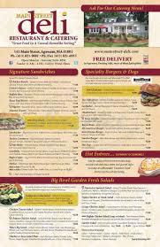 main street deli menu agawam dineries