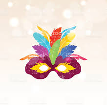 halloween carnival background colorful carnival mask with feathers on glowing background stock