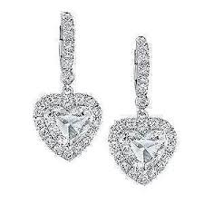 heart shaped earrings heart shaped diamond ebay