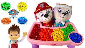 paw patrol everest marshall eat colorful u0026m u0027s candy food learn