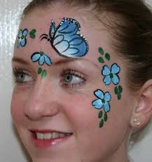 one stroke face painting beautiful butterfly with flowers face