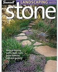 sunset landscaping with stone natural looking paths steps walls