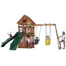 Playground Flooring Lowes by Shop Backyard Discovery Outing Expandable Residential Wood Playset