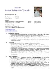 Experience Resume For Mechanical Engineer Resume Mechanical Engineer Pm Joaquin Artal