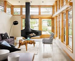 muskoka fireplace in living room scandinavian with wood trim next