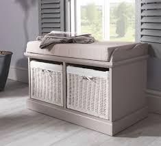 Hallway Storage Bench   tetbury bench with 2 white baskets hallway storage bench with