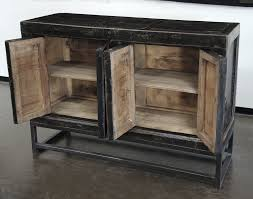 sideboard credenza cabinet buffet media console black iron base