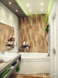 bathroom wooden accentuated wall and white bathtub and large