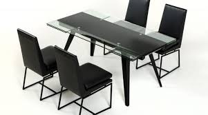 Black Glass Extending Dining Table Black Glass Extending Dining Table Dining Table Set