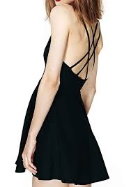 Draped Black Dress Black Plain Draped Cross Back Dress Mini Dresses Dresses