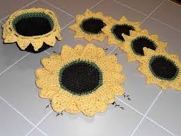 Sunflower Rugs Sunflower Crochet Decor Pattern Centerpiece Trivet Mug Rugs Basket