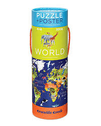 World Map Puzzles by Crocodile Creek Puzzle 200 Pieces Poster World And Animals