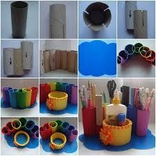 Paper Desk Organizer Diy Rainbow Desk Organizer From Toilet Paper Roll