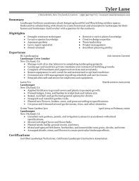 My Resume Sample by Best Landscaping Resume Example Livecareer