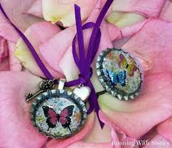 kid craft butterfly bottle cap ring u0026 necklace running with sisters