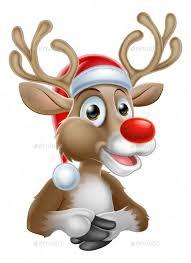 christmas deer christmas reindeer with santa hat by krisdog graphicriver
