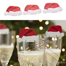wine glass christmas ornaments christmas santa hat wine glass decoration card table place