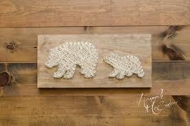 mama bear bear and cub woodland nursery string art