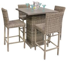 Royal Outdoor Wicker Pub Table With Bar Stools Piece Set - 7 piece outdoor dining set with round table
