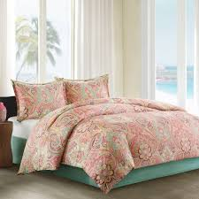 Best 25 Mint Green Bedding by Amazon Com Echo Guinevere Comforter Set Queen Coral Mint Foam
