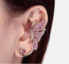cuff piercing of diamond earrings butterfly earrings ear cuff no
