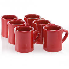 Red Kitchen Canister Sets Diner Coffee Mug Set Of 6 Red Vintage Ceramic Coffee Cups