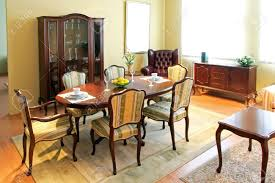 Wooden Chairs For Living Room Wooden Furniture In Classic Style Dining Room Stock Photo Picture