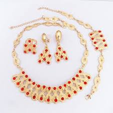 fashion jewelry necklace sets images 24k gold plated red crystal ruby necklace earrings bracelet ring jpg