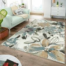 teppiche wohnzimmer moderner teppich wohnzimmer teppiche blumen muster creme pastell