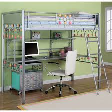 silver metal loft bed with desk and ladder for girls