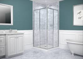 bathroom square corner shower enclosure with grey tiled wall source