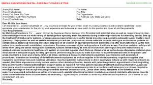 efda certified dental assistant cover letters